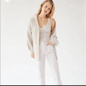 Urban Outfitters cream slouchy cardigan sweater